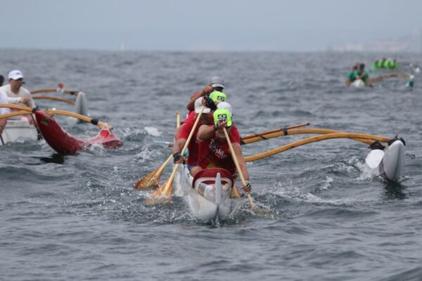 Lanakila Outrigger Canoe Club golden masters surfing downwind at the Iron Outrigger Championships in San Diego on June 28. Photos by Kevin Cody