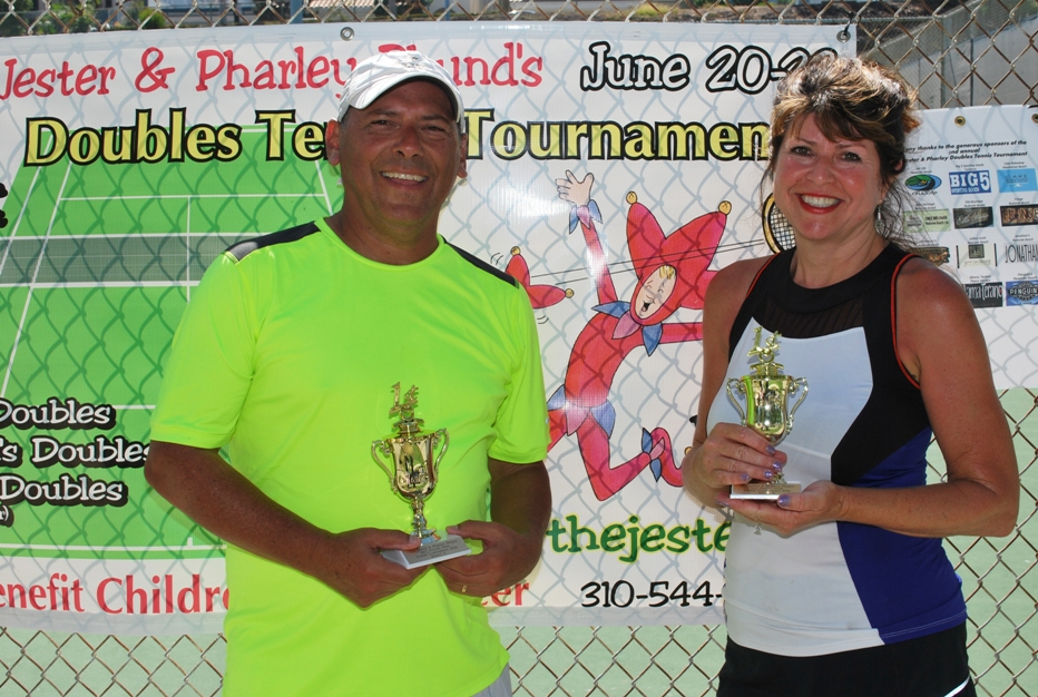 The Redondo Beach tandem of Daniel Rodriguez and Heidi Grimm captured the Mixed Doubles Division A championship at the The Jester & Pharley Phund's 2nd Annual Benefit Doubles Tennis Tournament held at Alta Vista Park in Redondo Beach. Photos courtesy of The Jester & Pharley Phund