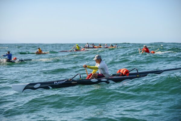 Al Ching training in an OC1 (one-man outrigger canoe) with Lanakila paddlers off of Redondo Beach. Photo by Mike McKinney