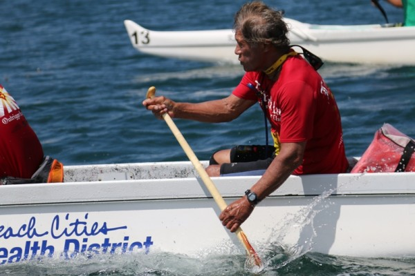 Al Ching bringing his boat home at the Iron Outrigger Championships in San Diego on June 28. Photo by Kevin Cody
