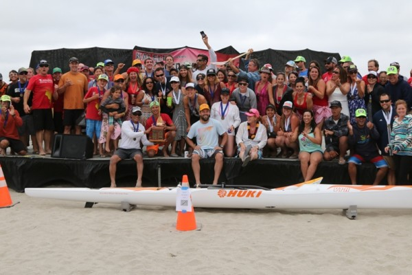 The Lanakila Outrigger Canoe club with the Outrigger Iron Perpetual Trophy.