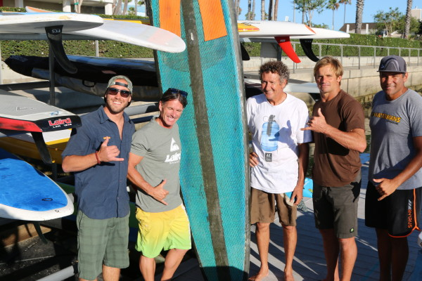Tasan's Brad Fiffe and Gene Smith with shaper Pat Ryan and Laird Hamilton.