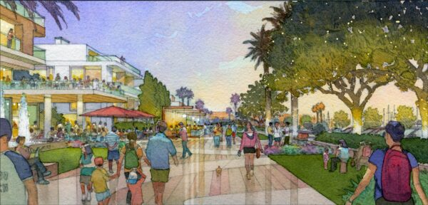 The AES development proposal for an esplanade, looking south on Harbor Drive. Courtesy AES Southland.