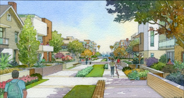 Potential walk street through 600-unit residential area of Harbor Village. Courtesy AES Southland.