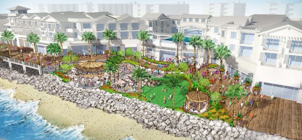 Rendering of Waterfront project proposed by developer CenterCal, which will add 523,732 square feet of new development to King Harbor.