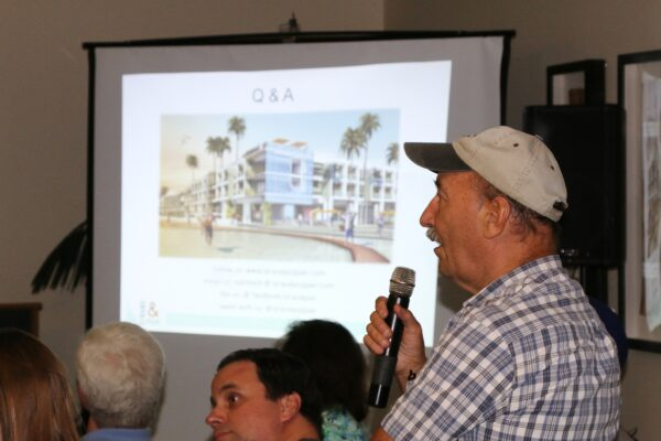 """Former Hermosa Beach councilman Jim Rosenberger asks how the proposed hotel would be marketed. Provenance's Bashar Wali responded, """"If you visit our web site, even once, we will track you down on Facebook and other social media sites until you book a room."""""""