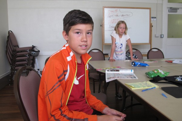 Beckett Navarrette and Micah Worker were among half a dozen Hermosa Valley School students who participated in the civics summer camp last year at the Hermosa Beach Community Center. Photo by Kevin Cody, Staff.