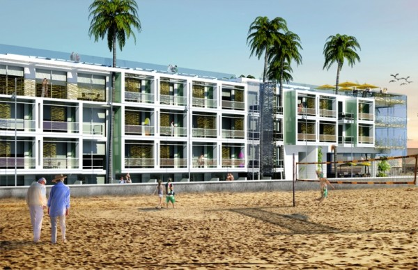 The proposed hotel, as viewed from the volleyball courts just nort of the pier.