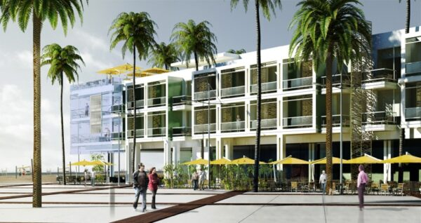 Retail and restaurants would occupy the first floor along Pier Plaza.