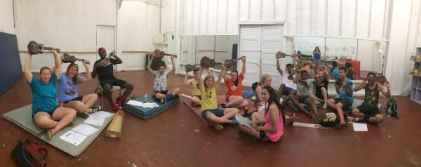 A UkeCanDoIt class at Camp Hope. Courtesy of Marco Pellizzeri