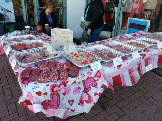 PURRfect Partners holds an annual Valentine's Day bake sale fundraiser in front of Centinela Feed and Pet Supplies to raise money for cat rescue and adoption. Courtesy of PURRfect Partners