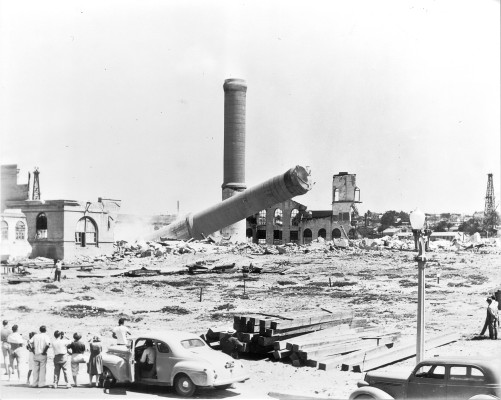 The original Redondo Beach steam station being demolished in 1946. Photo courtesy of AES Southland