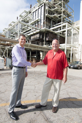 After decades of fratricidal strife between the AES Power Plant and the City of Redondo Beach, AES vice president Eric Pendergraft and Redondo Beach Mayor Steve Aspel joined forces in June to replace the power plant with a mixed commercial and retail development. Photo