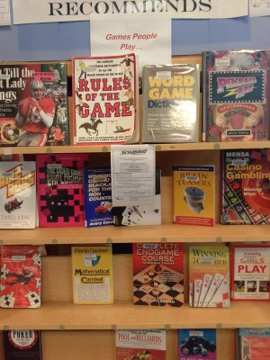 A game-related book display at the Redondo Beach Main Library. Courtesy of Redondo Beach Public Library