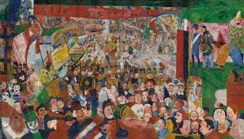"""Christ's Entry into Brussels in 1889"" (1888), by James Ensor. The J. Paul Getty Museum, Los Angeles. ⓒ2014 Artists Rights Society (ARS), New York/SABAM, Brussels"
