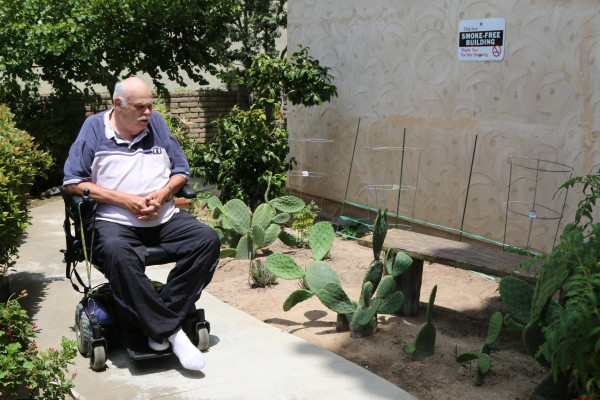 James Cavallo, 74, has numerous grievances against Casa de Los Amigos management, including cacti that he says was planted to restrict residents from using a bench in the garden.