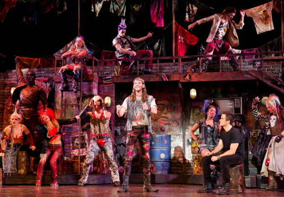 """In search of the lost chord: The cast of """"We Will Rock You."""" Photo by Paul Kolnik"""
