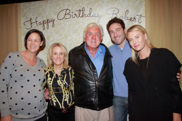 Pictured from left are tennis greats Lindsey Davenport, Tracy Austin, their former coach and honoree Robert Landsdorp, Justin Gimelstob and Maria Sherapova.
