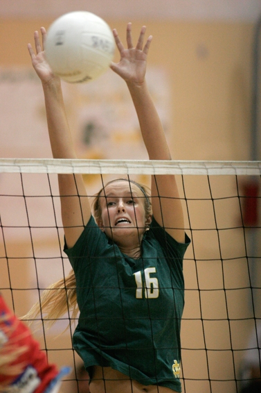 Mira Costa team co-captain Katie Rethmeyer is one of the area's top middle blockers. Photo by Ray Vidal