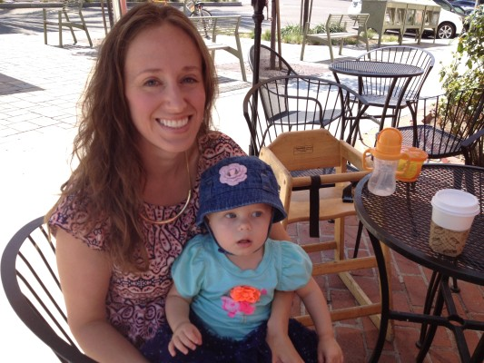 Melissa McAtee, president of the MOMS club of Hermosa Beach, with her daughter Madelyn.   Photo by Ryah Cooley, staff.
