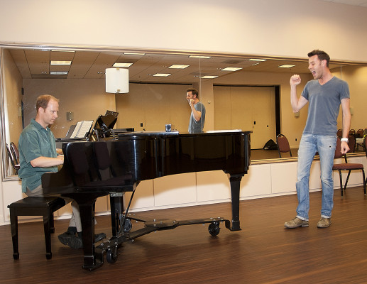 """Singer and actor Harley Jay rehearsing for """"The Full Monty"""" with music director Daniel Thomas GLORIA PLASCENCIA, CONTRIBUTING PHOTOGRAPHER"""