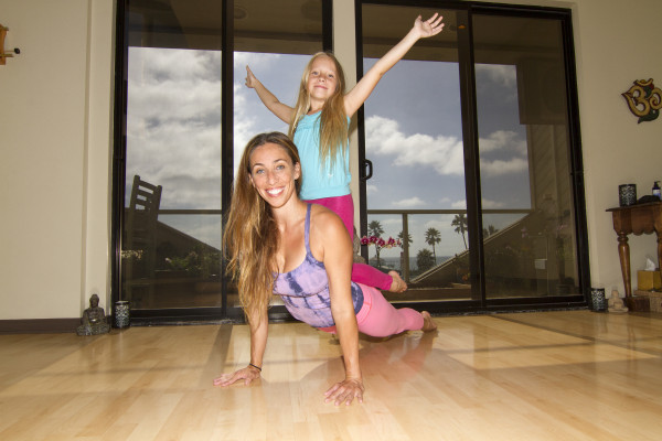 Suzy Nece and her daughter Izzy at Yoga Loft in Manhattan Beach. Photo by Brad Jacobson