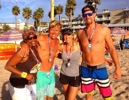 Finalists in the Pro Mixed championship match included (left to right) Marlene Brand, Donny Young, Ginger Young and Scott Worden. Photo courtesy of West Coast Beach Tennis
