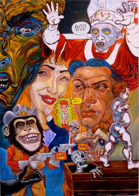 """""""Mea Culpa: Life is Good??,"""" oil on canvas, by Michael Chomick is part of Torrance Art Museum's South Bay Focus."""