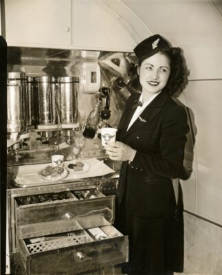 Delta Airlines served Atlanta, home of the Coca-Cola company, so there's no surprise that that's what the stewardess in this 1940 publicity shot is pouring.