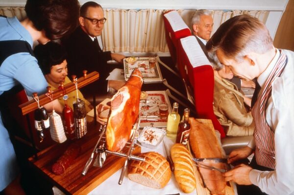 Scandinavian Airways was famous for lavish service, as in this presentation of charcuterie in the 1960.
