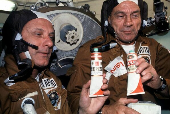 Russian cosmonauts played a prank on their American counterparts by gluing vodka labels on spacegoing beverage containers. The Americans were disappointed to discover they contained beet juice.