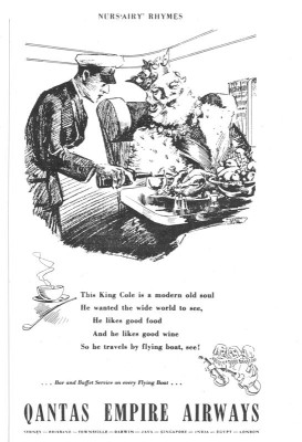 This whimsical ad from the 1930's touted the superior service aboard flying boats.