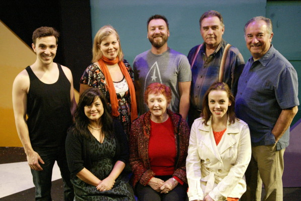The complete cast for all ten Pick of the Vine plays. Top, l-r: Chad Skiles, Annie Vest, Bill Wolski, David Kieran, and Rodney Rincon; bottom, l-r: Holly Baker-Kreiswirth, Mary Margaret Lewis, and Bridget Garwood. Photo by Mickey Elliot