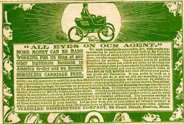 """Advertisement recruiting sales representatives for """"Stanley"""" brand horseless carriage, as printed on back cover of the """"People's Home Journal"""" magazine of October, 1899. Courtesy WikiCommons"""