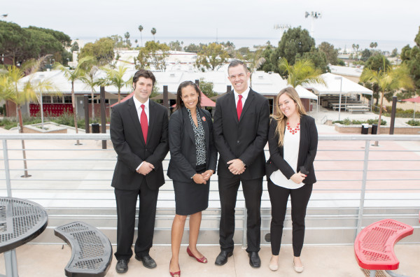 Principal Nicole Wesley (second from left) flanked by assistant principals Anthony Bridi,  Jens Brandt, and Leslie Corcoran atop the school cafereria. Photo by Brad Jacobson