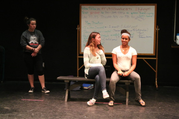 Drama students practice improvisation over the lunch hour in the auditorium. Photo by Kelly Kim