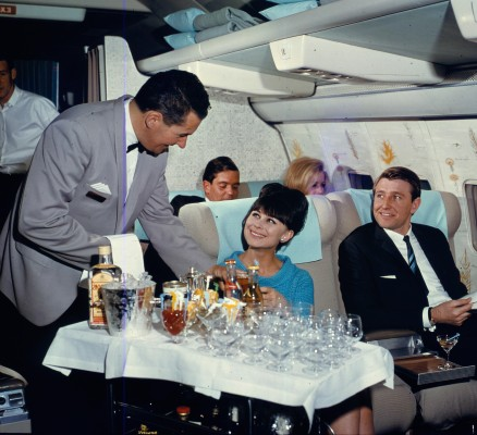 What might be a scene from a contemporary James Bond film is actually a photo from Quantas flight in 1965.