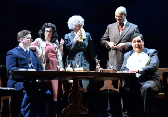 Dinner with friends. L-r, Zeffin Quinn Hollis as Olivier, Ani Maldjian as Suzanne, Suzan Hanson as Madame Lisette Raquin, Ed Parks as Laurent, and John Matthew Myers as Monsieur Grivet. Photo by Keith Ian Polakoff