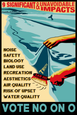 An anti oil poster claims the state will prevent Hermosa from spending it's tidelands oil revenue.
