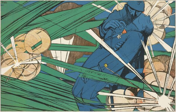 """Detail of """"I Have You My Captain. You Won't Fall."""" Paul Iribe (French, 1883-1935); À coups de baïonnette 9 (June 1917): pp. 424-25; The Getty Research Institute"""