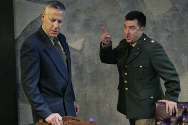 Questions and answers: Richard Perloff as Wilhelm Furtwängler and Patrick Vest as Major Steve Arnold. Photo by Mickey Elliot