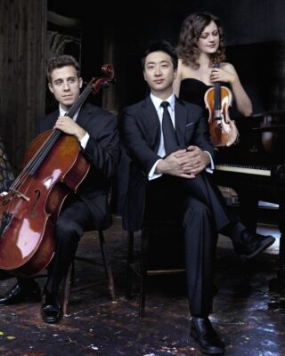 Trio Celeste features (from left) cellist Ross Gasworth, pianist Kevin Kwan Loucks and violinist Iryna Krechkovsky. The trio performs at the First Lutheran Church of Torrance on Friday afternoon at 12:15 p.m. The concert is free. Promotional photo