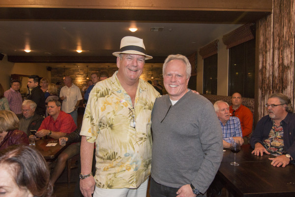 Former Redondo Beach councilman Kurt Schmalz and Mayor Steve Aspel await election results at the Yes on B campaign party at HT Grill in Riviera Village. Photo