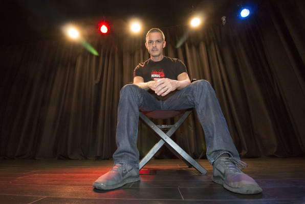 Billy Gallo on the stage of the Manhattan Actor Studio. Photo