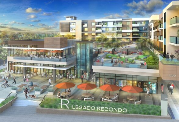 Legado Redondo would redevelop a 4.3 acre site at the corner of Pacific Coast Highway and Palos Verde Boulevard, adding 180 residential units and 181,373 square feet of new development. Image courtesy City of Redondo Beach.