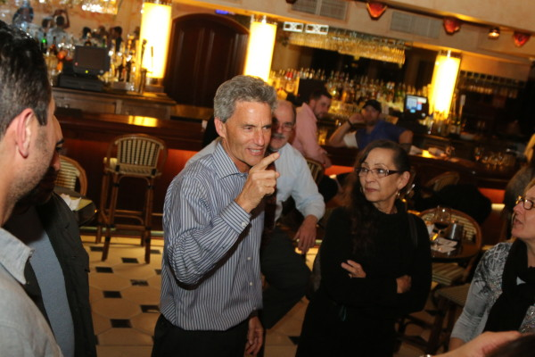 Councilman Bill Brand celebrates with opponents of Measure B at the campaign's party at the Cheesecake Factory in Redondo Beach's King Harbor. Photo by David Mendez