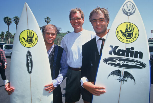 Jeff Deffenbaugh, David Letterman, and Greg Browning. photo by Mike Balzer