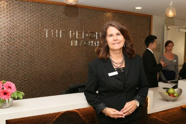 Redondo Beach general manager Cathy LeCompte in the lobby of the newly remodeled Pacifica Redondo Beach Hotel.