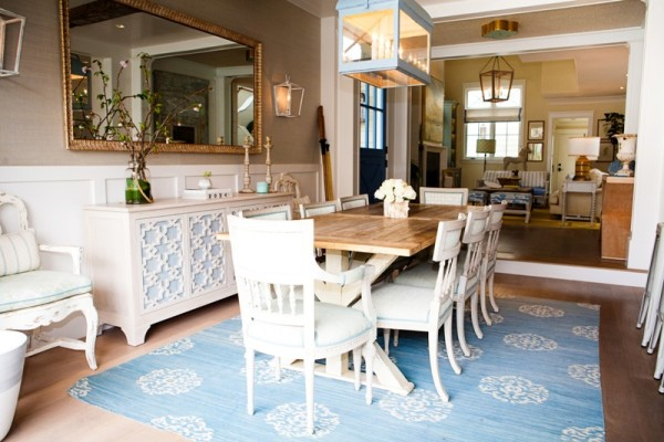 The Olsen's living room and kitchen meet to form a large warm gathering place.