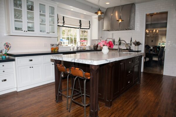 The Chamber kitchen blends marble and concrete counters.